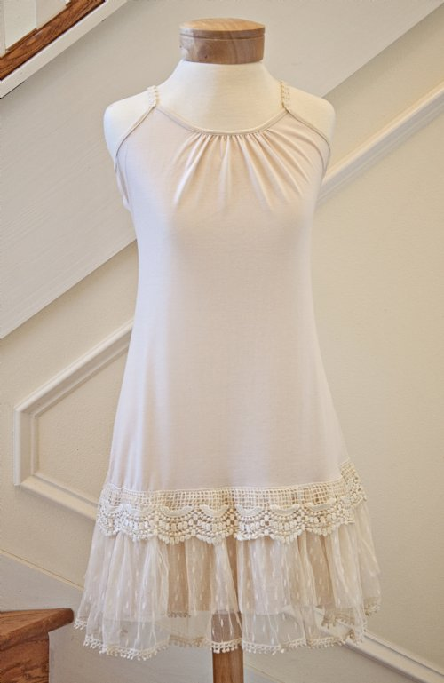 Women S Shabby Chic Ivory Lacy Bottom Slip Dress Currently