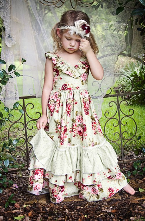 Vintage Rose Country Chic Holiday Frock Perfect Shabby Chic Christmas Dress! 12 Months to 16 ...