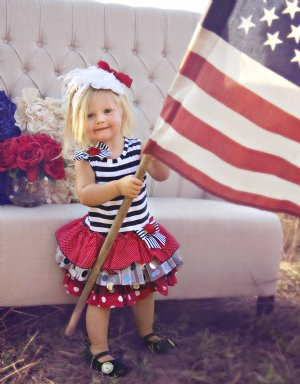 New Listing Little Lass Baby Girls Patriotic 4th of July Romper Outfit Set, Size 24 Mo.