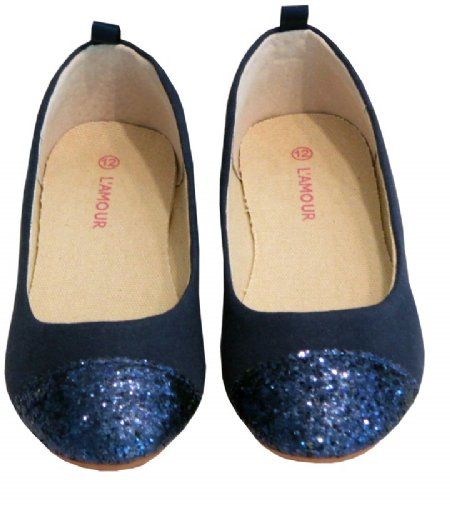 Navy Blue Glitter Flat Shoes